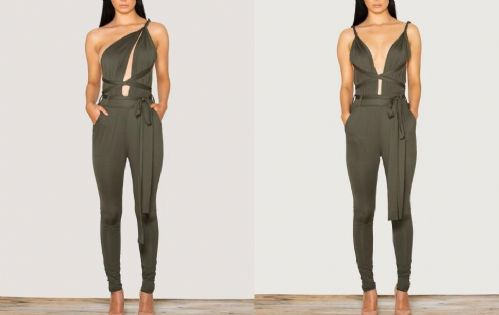 Sexy Women Deep V Neck Plunge Bodycon Multiway Strappy Jumpsuit Party Dress